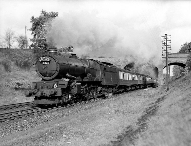 6023 King Edward II approaching Southcote at the head of the Cornish Riviera (10.30 am ex-Paddington) on 27 October 1952.  This was one of the earliest pictures taken with the Adams Reflex which my father acquired second hand.  The image shows some distortion to the left side of the boiler probably due to the mis-functioning of the focal plane shutter before repair was effected.