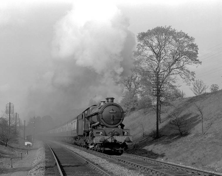 6025 King Henry III approaching Southcote Junction with the down 3.30pm ex Paddington in 1956/57.