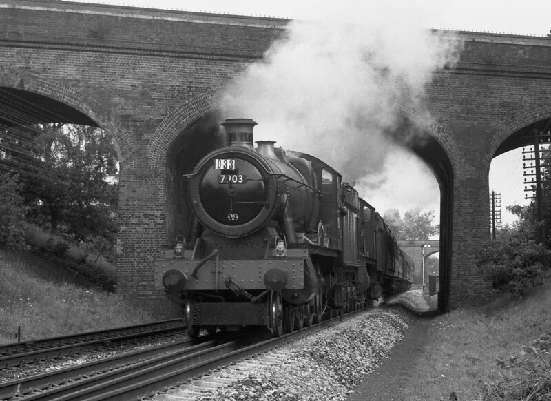 7903 Foremarke Hall leading a double-headed express under the Bath Road bridge approaching Southcote in 1962.  Foremarke Hall has been preserved