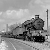 Another early and rather grainy shot recovered from a glass quarter plate shows 111 Viscount Churchill on a milk train passing Southcote signal box.  This must have been taken before July 1953 when 111 was withdrawn from service.