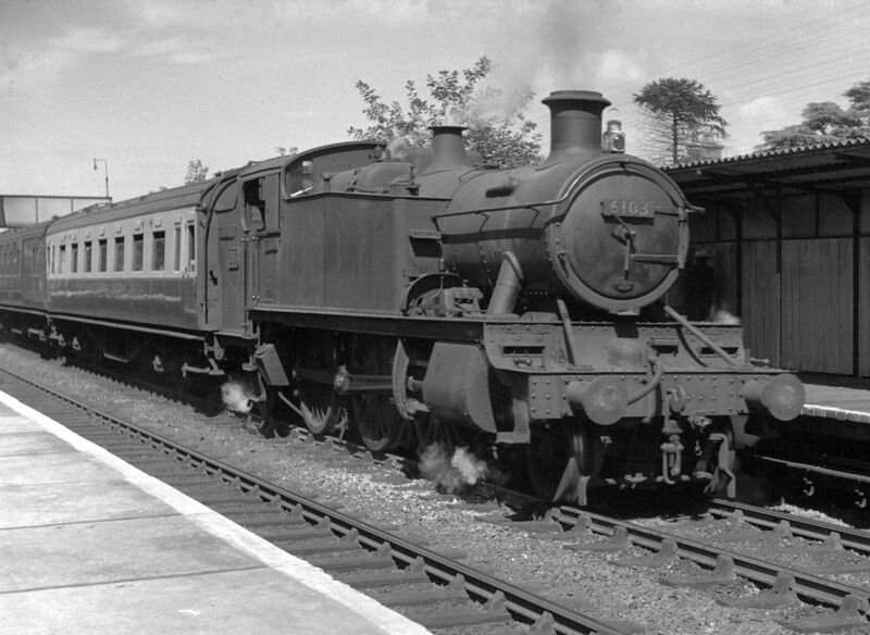 6103 at Reading West with an unknown local service on 28 July 1951.  Does the presence of Southern stock indicate  that Basingstoke was the destination?  An early half frame negative which has suffered rather badly from ageing.