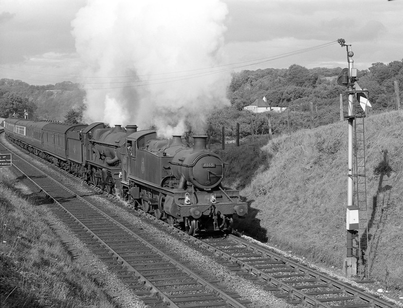 Prairie tank 51xx Class 4145 assisting and unidentified Castle toward Dainton summit tunnel with a down express in Summer 1958.