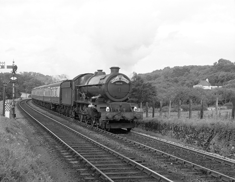6004 King George III heads the down Royal Duchy toward Dainton summit in August 1958.  This photograph was taken on a dull day, typical of the weather that bedevilled our family holidays to Devon.