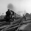 7014 Caerhays Castle speeds towards Tilehurst station with a down express in evening sunshine in the early-1950s.  This quarter plate shot also captures photographer Maurice Earley at work with his plate camera.