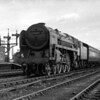 Taken in late 1951, this is one of my father's earliest pictures of a Britannia.  70017 Arrow approaches Reading General at the head of a down express.  The locomotive only emerged new from Crewe works in June 1951.