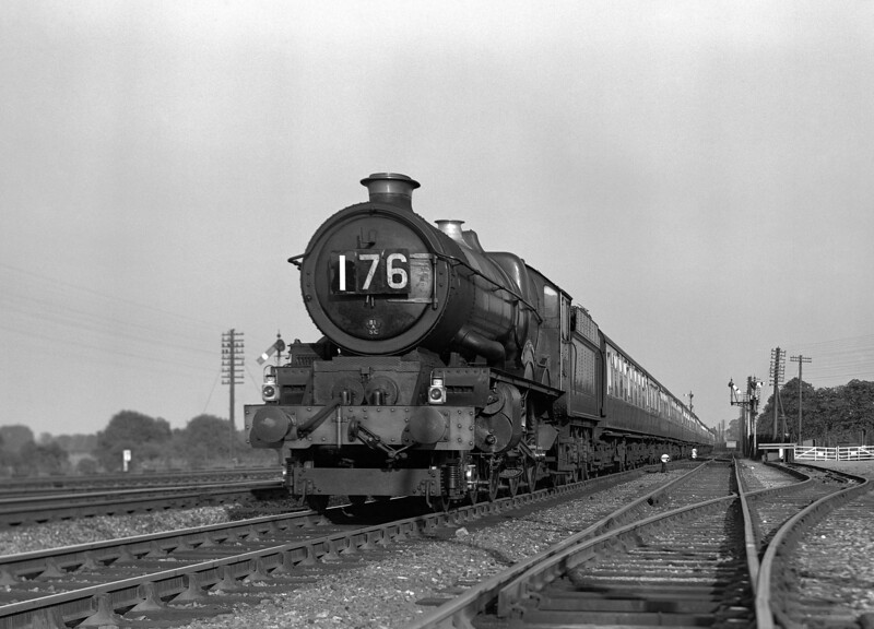 "On a visit to the Swindon Railway Festival today (14 September 2013), I saw the stand of the 6024 Society and was reminded that my father photographed this locomotive on three occasions.  This is an image of 6024 King Edward I approaching Tilehurst with a down express.  Given the train of BR Mk1 coaches it must be dated to the period 1956-57.  It cannot be much later as the Adams Reflex on which this was taken was pensioned off around this time.  The 6024 Society is working hard to raise funds for vital work on 6024 and would no doubt welcome any donations!  Web-site  <a href=""http://www.6024.com"">http://www.6024.com</a>."