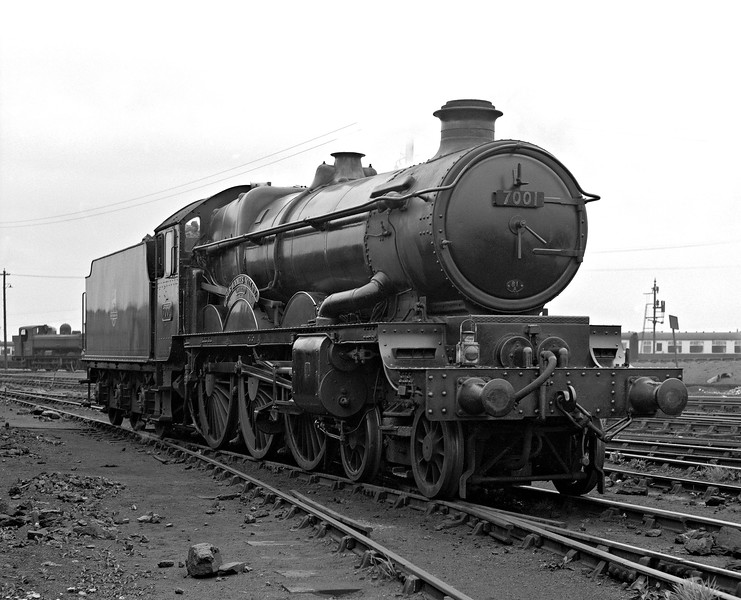 Castle Class 7001 Sir James Milne photographed at the approach to Old Oak Common MPD during a Railway Photographic Society visit in 1956 on what was obviously a dull day.