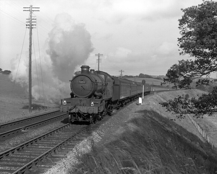 5055 Earl of Eldon attacks Rattery bank in the summer of 1958.