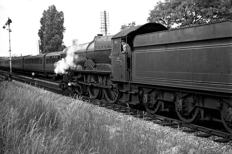 6001 King Edward III approaching Reading West Station in 1951 with an up express.