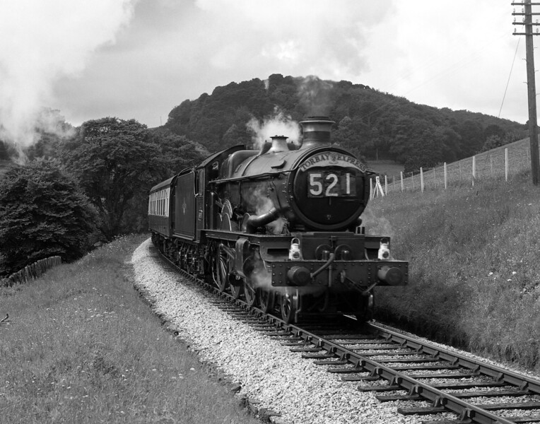 An unidentified Castle Class locomotive heads the up Torbay Express near Churston in August 1958.
