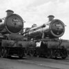 Castle Class 5004 Llanstephan Castle and Hall Class 6939 Calveley Hall pictured outside Swindon Works in c1960.  This is one of my own photographs taken on a Zeiss Ikon Nettar.