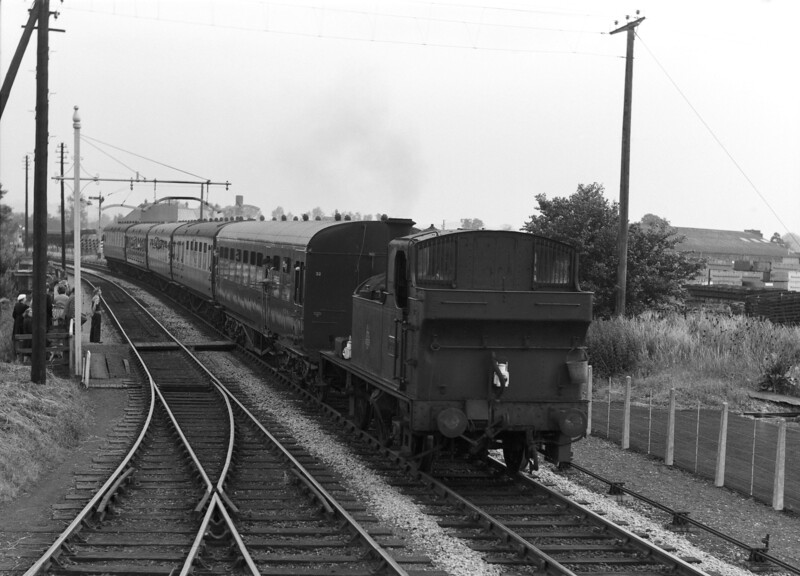 1444 approaches Wallingford on the last day of passenger services on the branch (13 June 1959).  This was a pre-Beeching closure and a sad day was marked by thoroughly drab, grey weather.  However, I suppose one should note that no members of our family (or I suspect most of those gathering to watch) had actually used the service!
