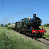 I took this picture of City of Truro during its brief visit to the Cholsey and Wallingford Railway on 18 June 2005 very close to the spot in the previous image although it was necessary to get much closer to the track to avoid the hordes of photographers and spectators.  It was an extremely hot, sunny day and the sky really was that blue!