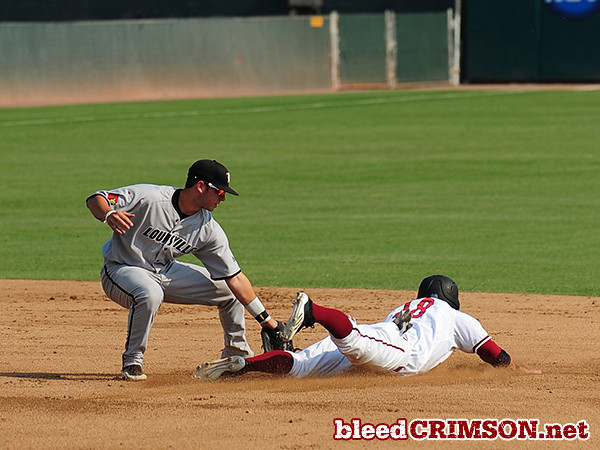 Tanner Waite is tagged out trying to steal a base in the first inning.<br /> <br /> Photo Credit: Sam Wasson