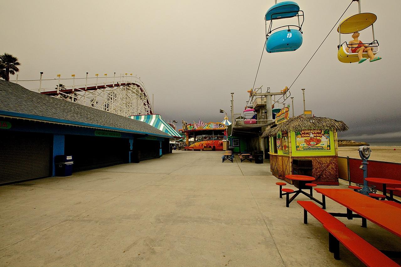 Santa Cruz Beach Boardwalk In Winter.  California