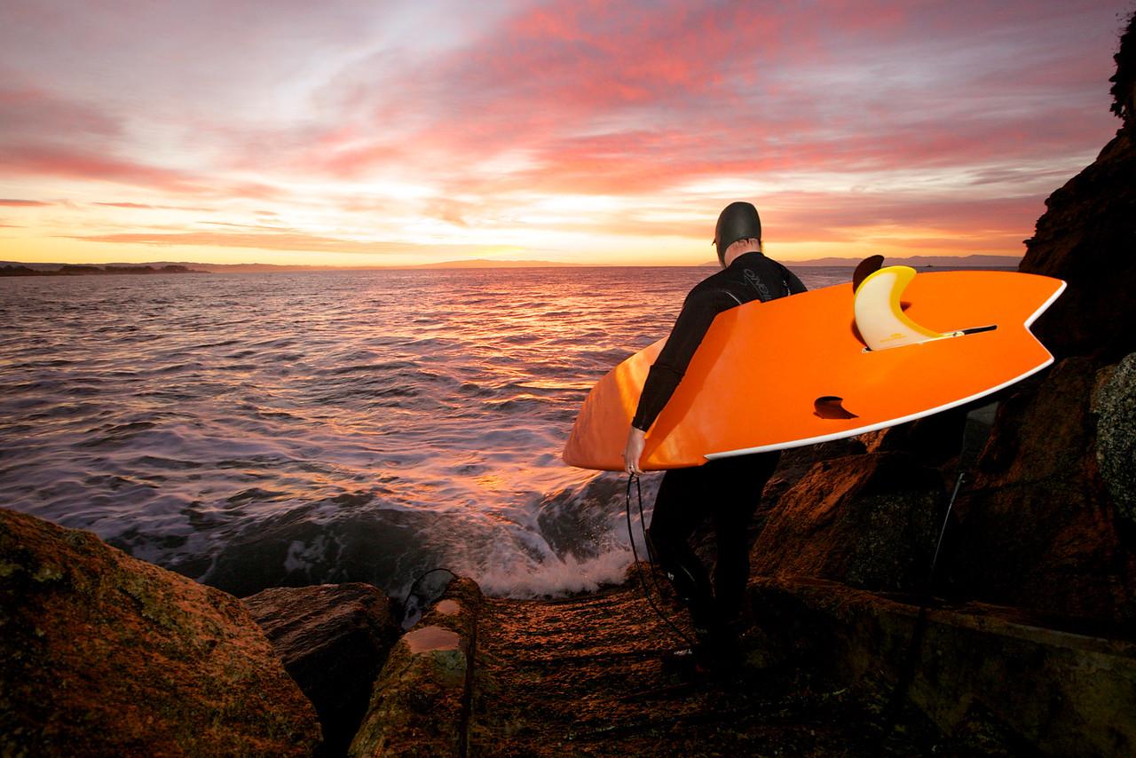 Dawn Surfer. A Santa Cruz Beach, California