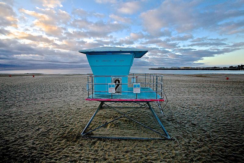 Life Guard Tower In Winter. Santa Cruz Beach, California