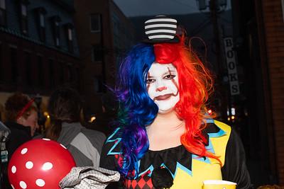 KELLY FLETCHER, REFORMER CORRESPONDENT -- A clown in full Halloween spirit on Elliot Street during BrattleBOO Festivities Thursday night.