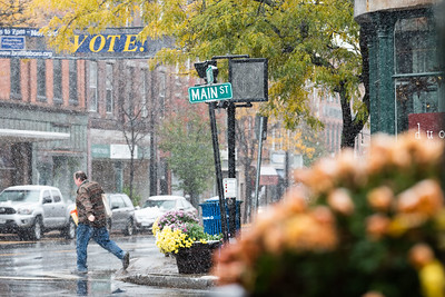 KELLY FLETCHER, REFORMER CORRESPONDENT -- The first snow falls on Main Street in Brattleboro on Friday