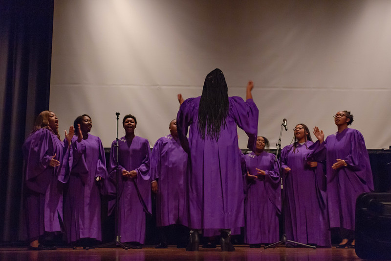 The United Black Voices Gospel Choir harmonizes for their performance at Black Student Union Represent. BSU Represent was at 7 p.m., Oct. 27, at Forum Hall in the Union. (Mary Kate Zach   Collegian Media Group)