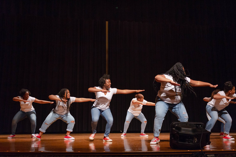 Members of Delta Sigma Theta perform a choreographed step routine at Black Student Union Represent. BSU Represent was at 7 p.m., Oct. 27, at Forum Hall in the Union. (Mary Kate Zach   Collegian Media Group)