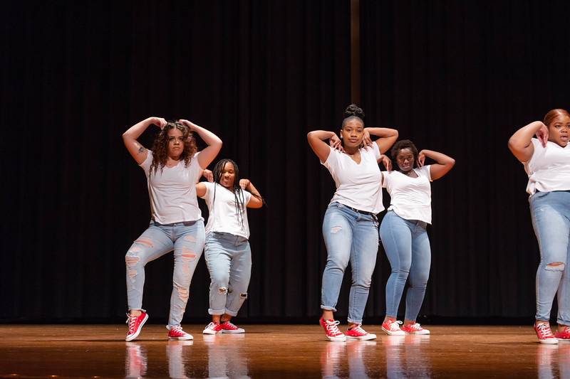Members of Delta Sigma Theta perform a routine with sass and style at Black Student Union Represent. BSU Represent was at 7 p.m., Oct. 27, at Forum Hall in the Union. (Mary Kate Zach   Collegian Media Group)