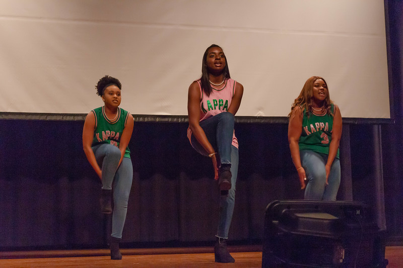 Members of the Alpha Kappa Alpha sorority perform a step routine at Black Student Union Represent. BSU Represent was at 7 p.m., Oct. 27, at Forum Hall in the Union. (Mary Kate Zach   Collegian Media Group)