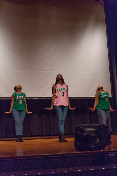 Members of the Alpha Kappa Alpha sorority perform a routine with informational bits about the founding of the sorority throughout the performance at Black Student Union Represent. BSU Represent was at 7 p.m., Oct. 27, at Forum Hall in the Union. (Mary Kate Zach   Collegian Media Group)