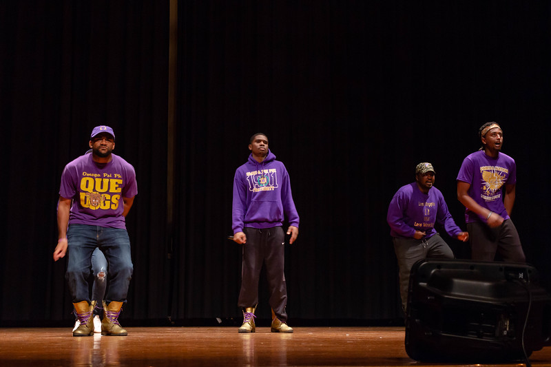 Omega Psi Phi Fraternity steps out to perform a fast-paced step routine at Black Student Union Represent. BSU Represent was at 7 p.m., Oct. 27, at Forum Hall in the Union. (Mary Kate Zach   Collegian Media Group)