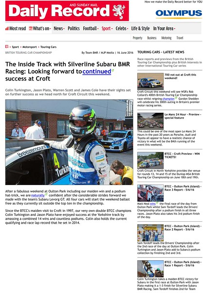 Daily Record - The Inside Track with Silverline Subaru BMR Racing - Looking forward to continued success at Croft