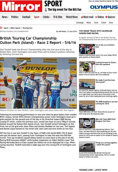 Daily Mirror - Touring Cars - BTCC - Ou...Park (Island) - Race 2 Report - 5/6/16