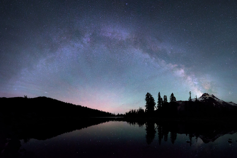 250° View of milky way + airglow over Mt. Jefferson, OR.
