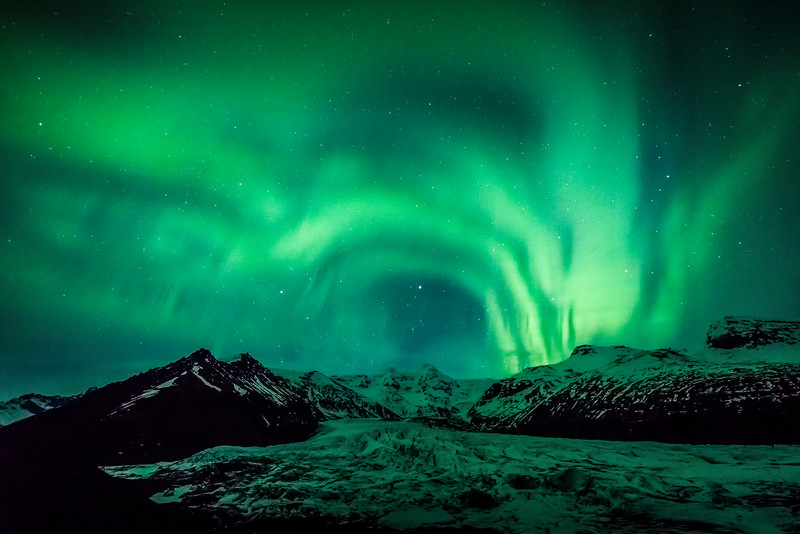 Aurora Ribbons over Svinafellsjokull