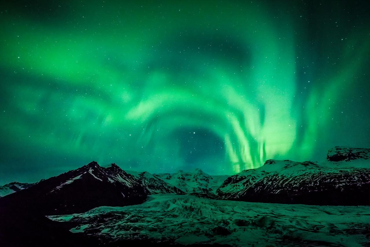 Aurora Ribbons over Svinafellsjokull