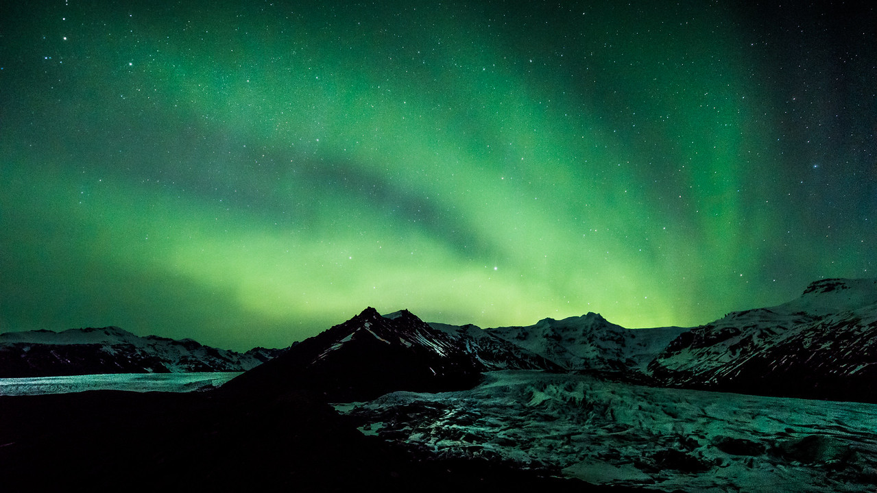 Aurora Bands over Svinafellsjokull