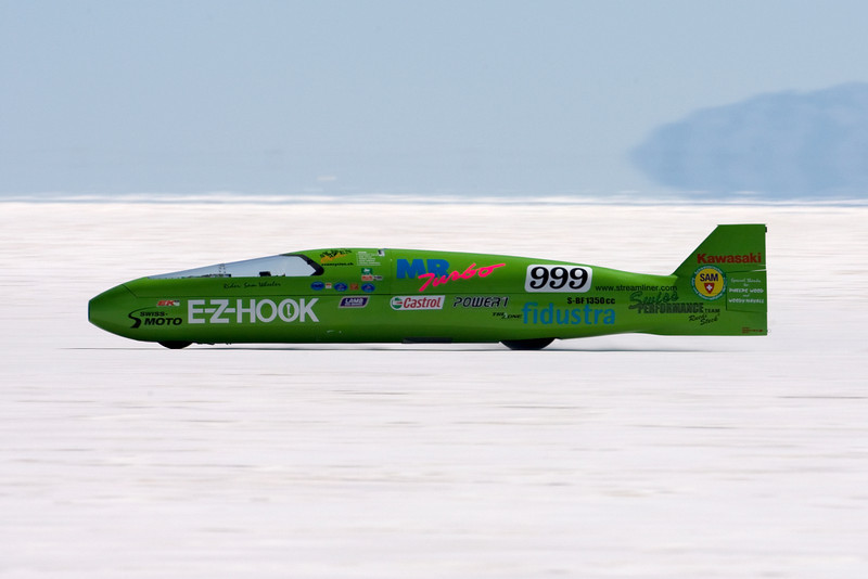 Sam Wheeler and his E-Z-Hook took one pass at around 287 mph. I  believe he burnt a piston. He will be at the Top Speed Shoot out Sept 22, 2008.