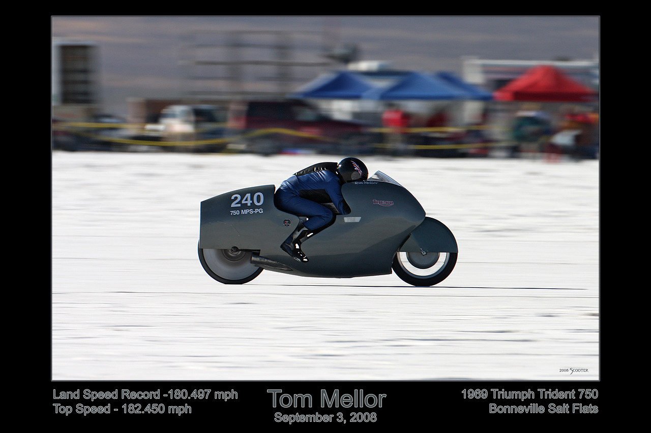 Tom Mellor on a record pass on a 1969 Triumph Trident 750