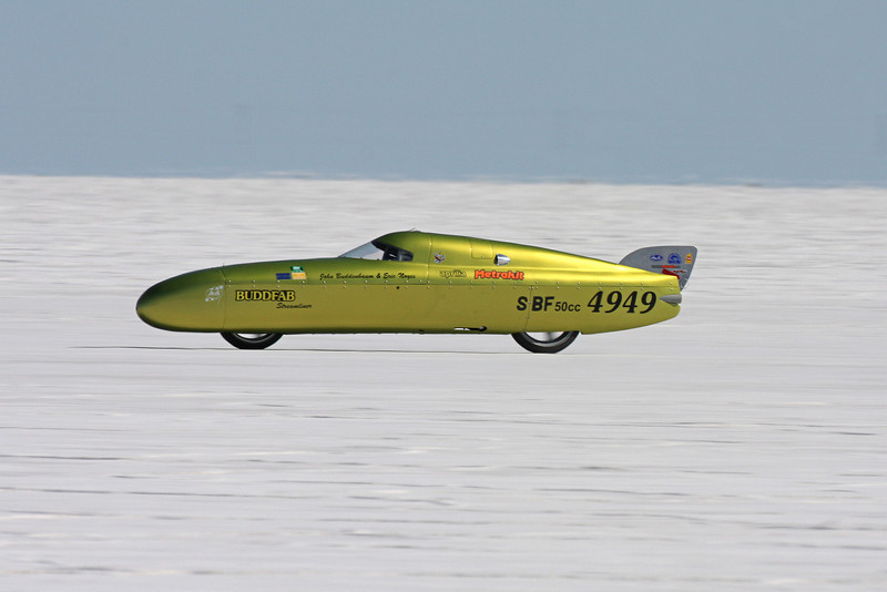 The Buddfab, with a 50 cc engine did 147 mph. Think about that the next time you fire up you Honda 50 or you lawn mower.