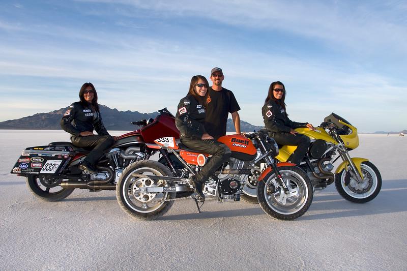 Team Klock. All three women own land speed records.