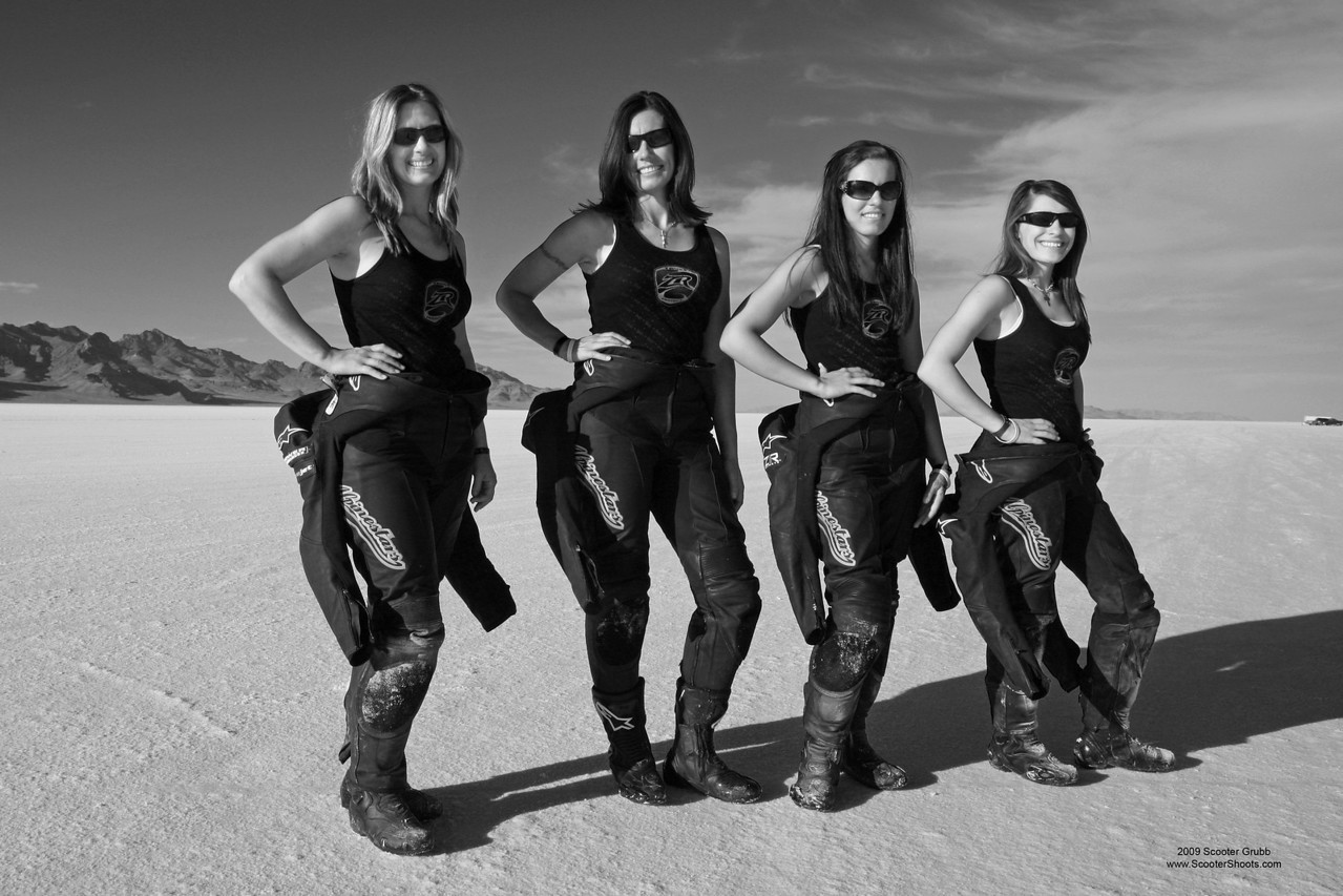 Team Klock Werks or the Women of Klock. All four of these women are Motorcycle Land Speed Record Holders. Image taken at the BUB Motorcycle Land Speed Trials on the Bonneville Salt Flats, Utah
