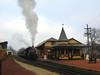 New Hope & Ivyland RR locomotive leaving New Hope Station, New Hope, Pennsylvania.