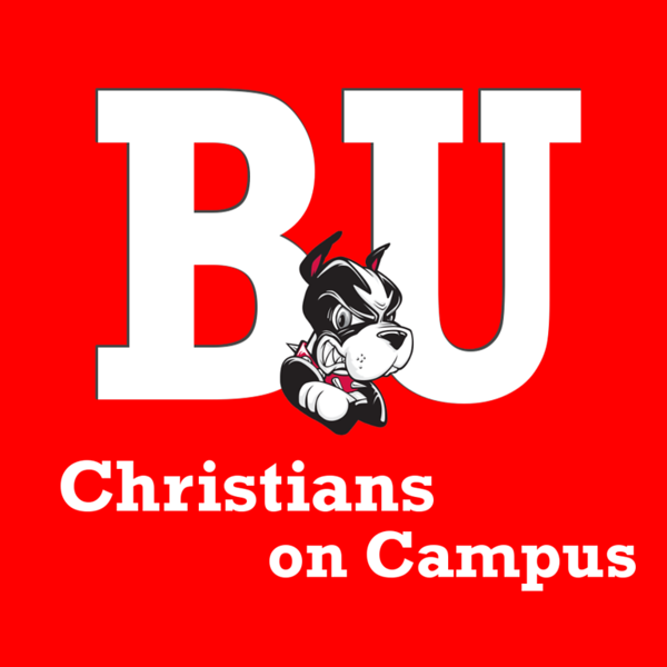 Boston University Christians on Campus Icon White with Red Background