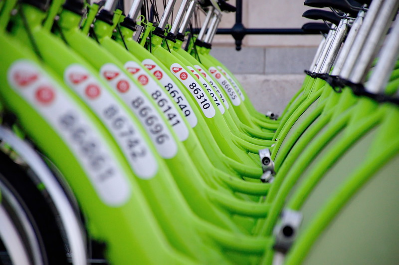 "BUDAPEST, HUNGARY - DECEMBER 12 2014:New Budapest bike hire called ""BUBI"".Many cities around the world have bicycle sharing systems or community bicycle programs."