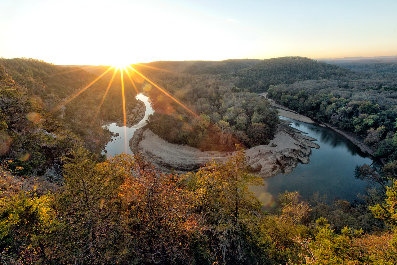 Red Bluff at Sunrise - The Buffalo National River of Arkansas - Fall 2016