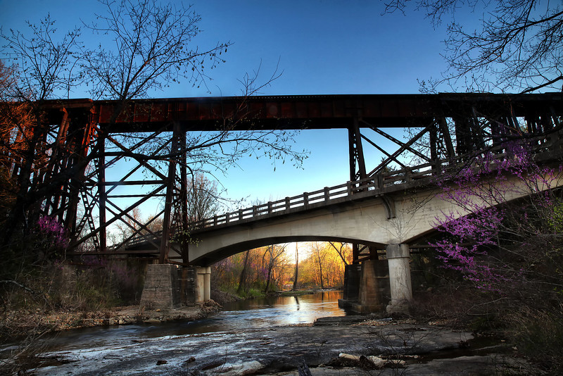 Dueling Bridges - Spring in the Ozarks - Yellville, Arkansas - April 15, 2014