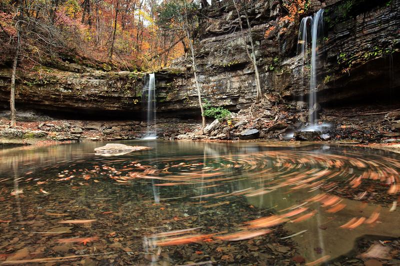 Twin Falls of Richland Creek - Richland Creek Wilderness - Ozarks