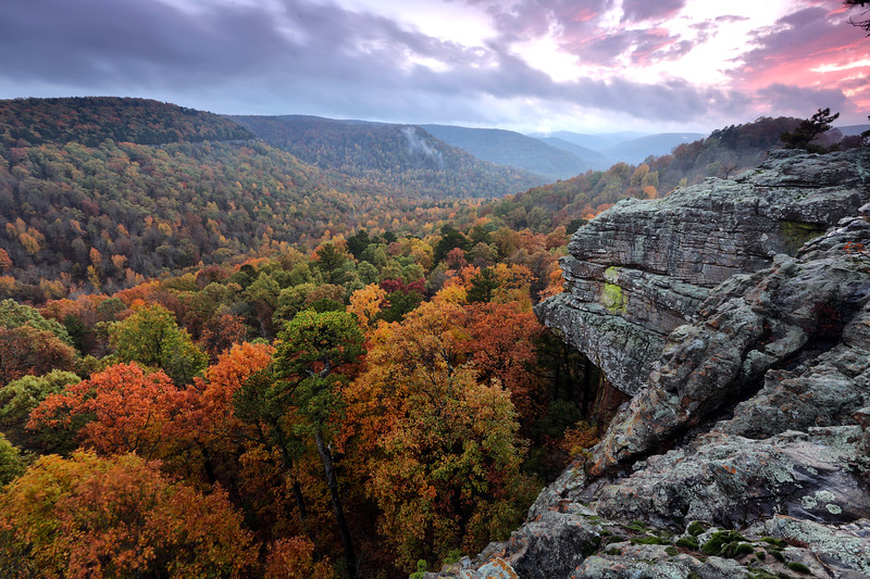Sam's Throne at Sunset - Mt Judea, Arkansas - Ozark National Forest  - Fall 2018