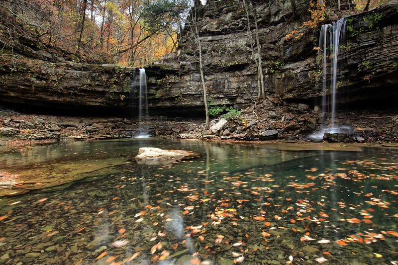 Twin Falls of Richland Creek - Richland Creek Wilderness - Ozarks