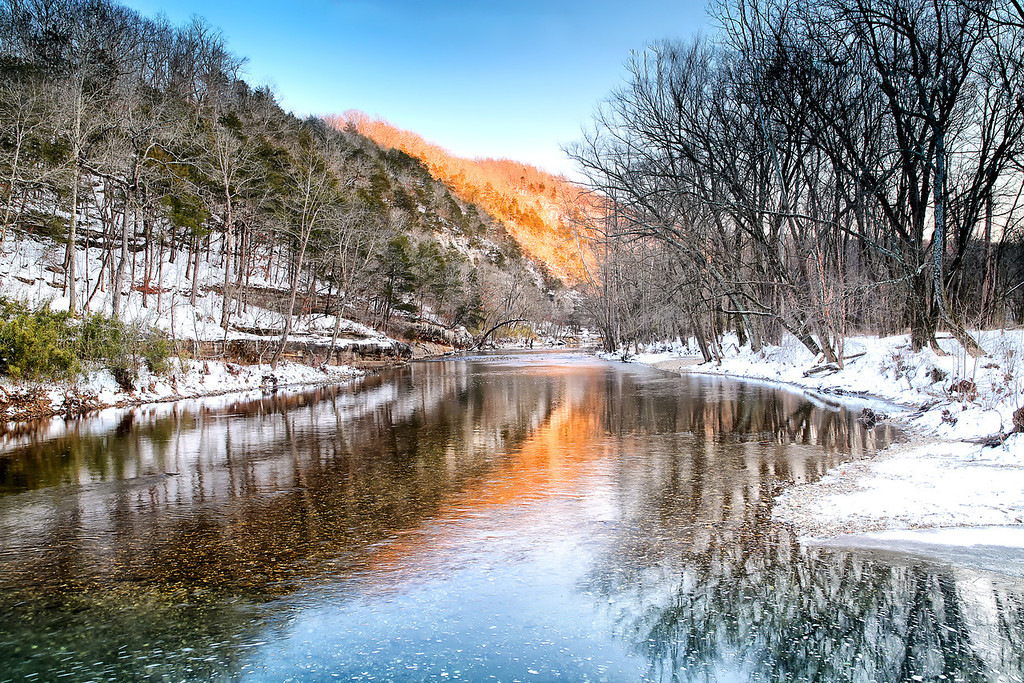 Icy Fire Water - Boxley Valley - Buffalo National River - Ponca, Arkansas - Winter 2014  From within a forested rank Such crystal waters flow. Its currents ushered from nature's flank The majesty of GOD do these waters show. - Mark Rosson