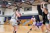 Brattleboro's Chloe Givens looks to pass to Cadance Gilbert during Tuesday night's playoff game against Rice.